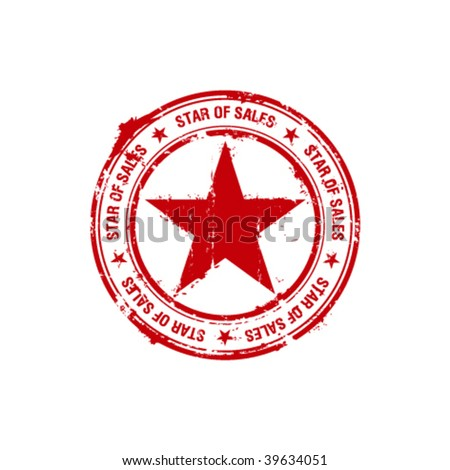 vector star of sales rubber stamp - stock vector
