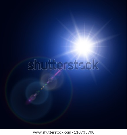 Vector star, sun with lens flare. - stock vector