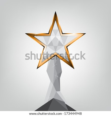 vector star trophy design, award ceremony - stock vector