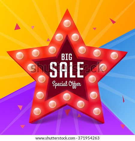 Vector Star with bulb for shopping design, Big Sale poster on colorful background