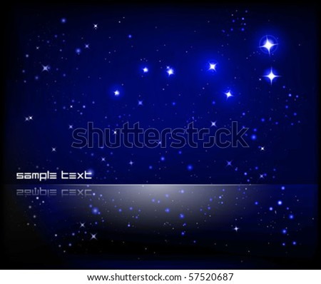 vector starry sky and Great Bear constellation - stock vector