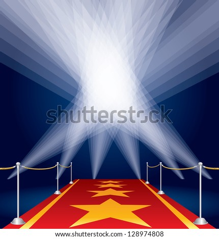 vector stars on red carpet and spotlights - stock vector