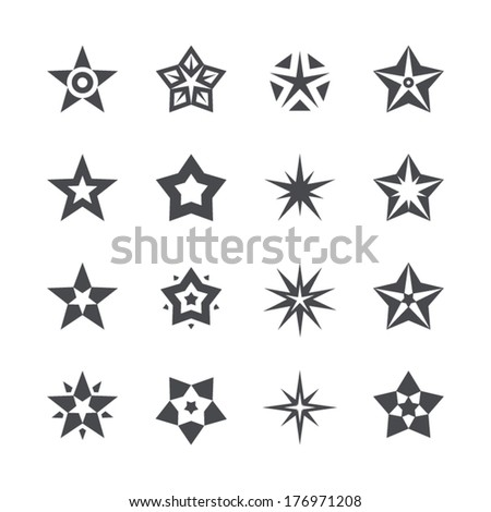 Vector stars set on a white background - stock vector