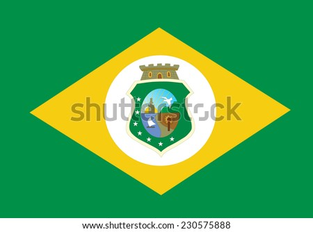 Vector State flag of Ceara in Brazil. Original and simple Ceara flag isolated vector in official colors and proportion correctly. - stock vector