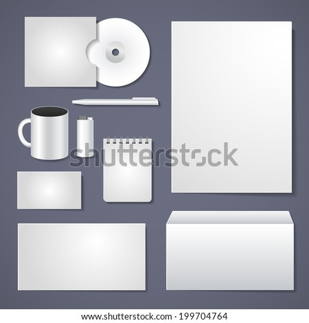 Vector stationery design, empty corporate identity template for business design - stock vector