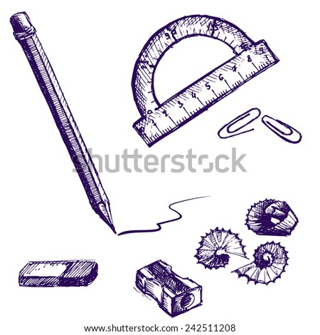 Vector stationery hand drawn pen sketch - stock vector