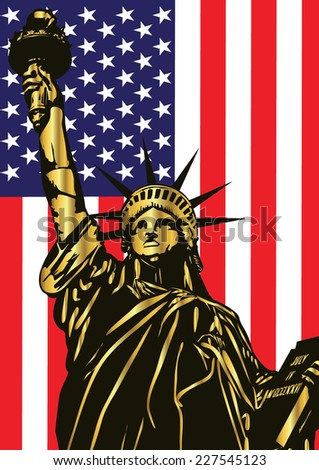 Vector statue of liberty and american flag