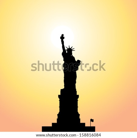 vector statue of liberty and bright sun - stock vector