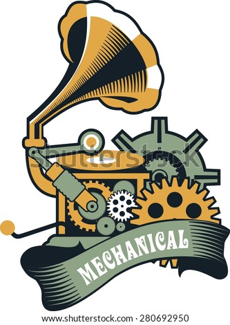 Vector Steam punk mechanical pocket watch elements are interlaced with banners and rotating parts - stock vector