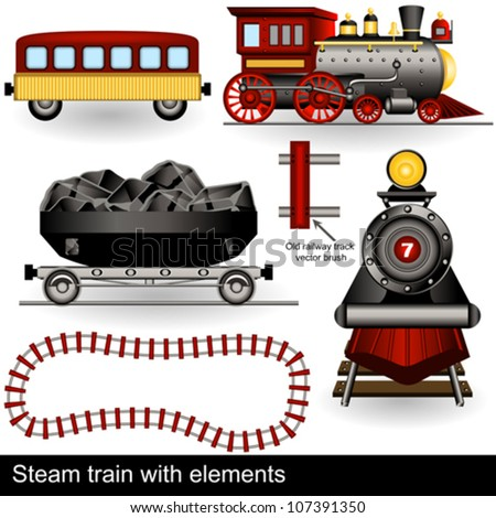 vector steam trains with wagons and a railway track. - stock vector