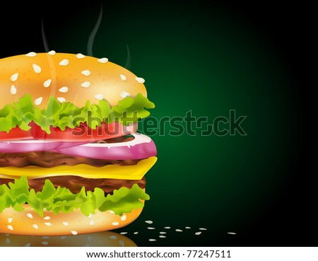 Vector steaming cheeseburger on a green background and scattered with sesame seeds - stock vector