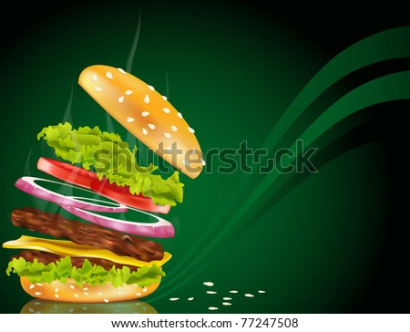 Vector steaming hamburger with cheese, onion and rissole on a green background - stock vector