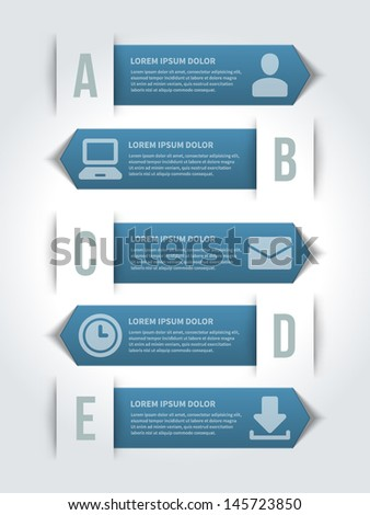 Vector step options banners and letters A, B, C, design template for web site. Vector illustration.  - stock vector