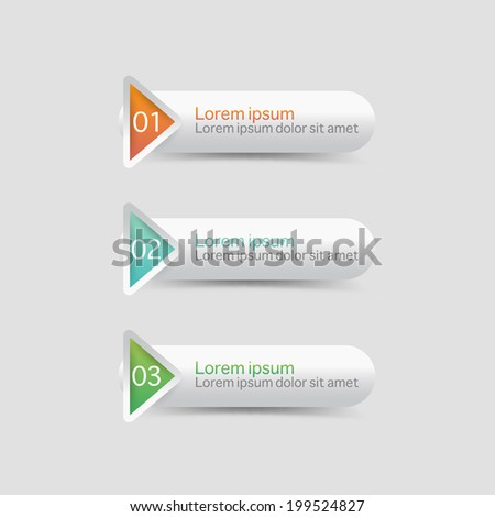 Vector steps, progress banners with colorful tags.