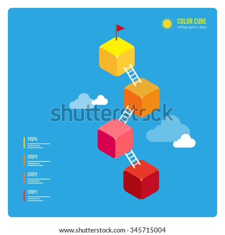 vector steps up to target with ladder, and plant flag / illustration style, consist of colorful cubes / can be used for layout, diagram, step up options, web template, infographics - stock vector