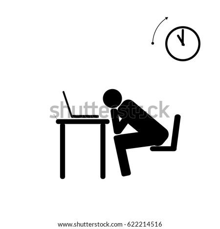 vector stick figure icon tired man stock vector 2018 622214516 rh shutterstock com vector graphics stick figure vector stick figure holding arms up