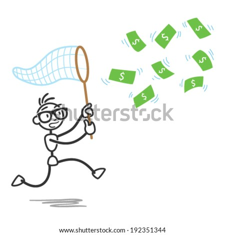 Vector stick figure illustration: Stickman chasing money bills with a scoop. - stock vector