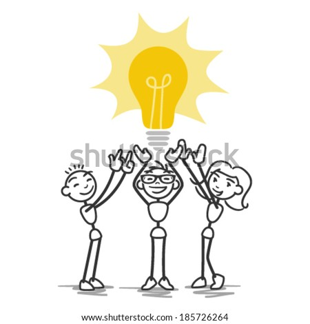 Vector stick man: Group of collaborating stick figures holding up light bulb, teamwork. - stock vector