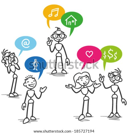 Vector stick man: Group of stick figures talking with colorful speech bubbles with icons. - stock vector