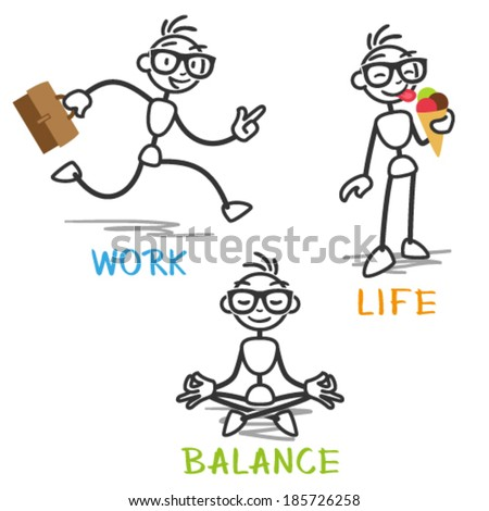Vector stick man: Stick figure depicting work life balance. - stock vector