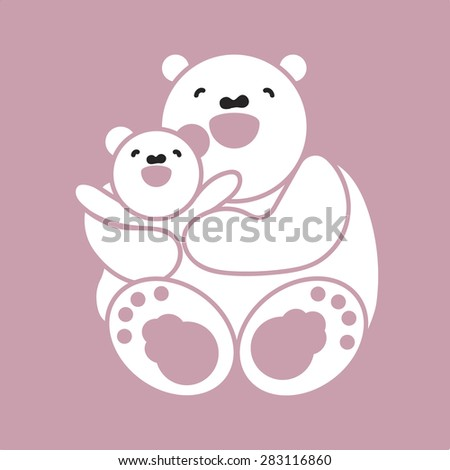 Vector sticker, card with happy mother and child white bear