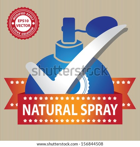 Vector : Sticker, Label or Badge For Product Information or Product Ingredient Present By Blue Glossy Style Natural Spray Perfume Bottle Sign With Check Mark in Brown Background  - stock vector