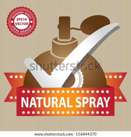 Vector : Sticker, Label or Badge For Product Information or Product Ingredient Present By Brown Glossy Style Natural Spray Perfume Bottle Sign With Check Mark in Brown Background  - stock vector