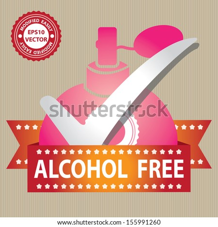 Vector : Sticker, Label or Badge For Product Information or Product Ingredient Present By Pink Glossy Style Alcohol Free Perfume Spray Bottle Sign With Check Mark in Brown Background  - stock vector