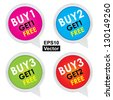 Vector : Sticker or Label For Marketing Campaign, Buy 1 Get 1 Free, Buy 2 Get 1 Free, Buy 3 Get 1 Free and Buy 3 Get 2 Free With Colorful Icon Isolated on White Background - stock photo