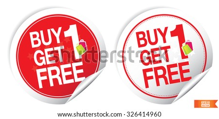 Vector : Sticker or Label For Marketing Campaign,Buy 1 Get 1 Free With Red Icon. Eps10. - stock vector