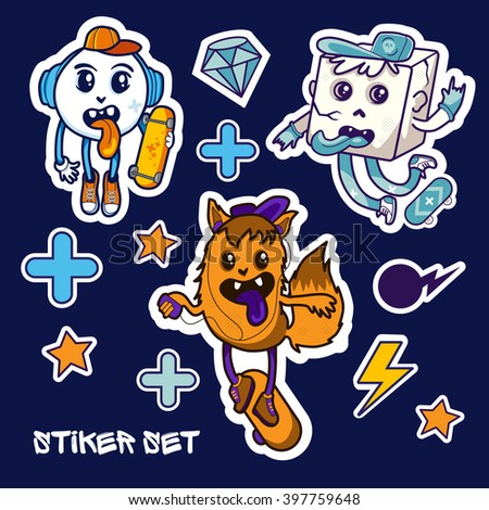 Vector sticker set with characters and skateboards - stock vector