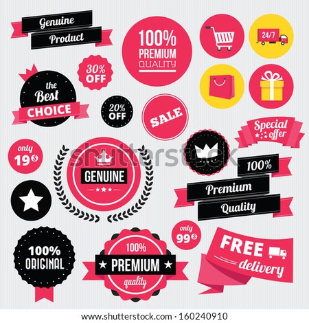 Vector Stickers Badges Ribbons and Icons Set - stock vector