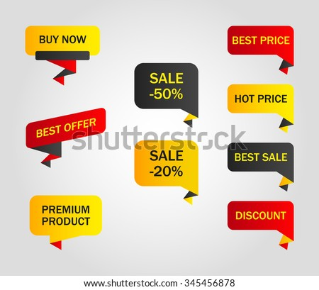 vector stickers, price tag, banner - stock vector
