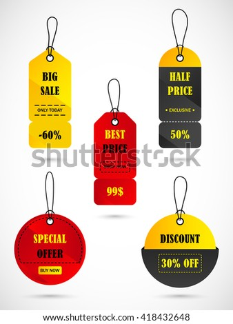 Vector stickers, price tag, banner, label. Coupon sale, offers and promotions vector template. - stock vector