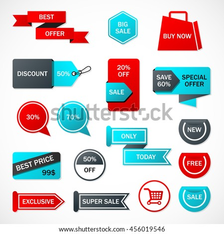 Vector Stickers Price Tag Banner Label Stock Vector 456019546