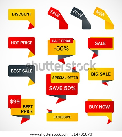 Vector Stickers Price Tag Banner Label Stock Vector 592761620