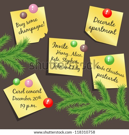 Vector stickers with Christmas notes hanging on the board - stock vector