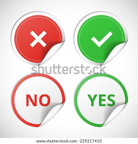 Vector stickers with consent and denial on white background - stock vector