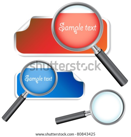Vector stickers with magnifier for text - stock vector