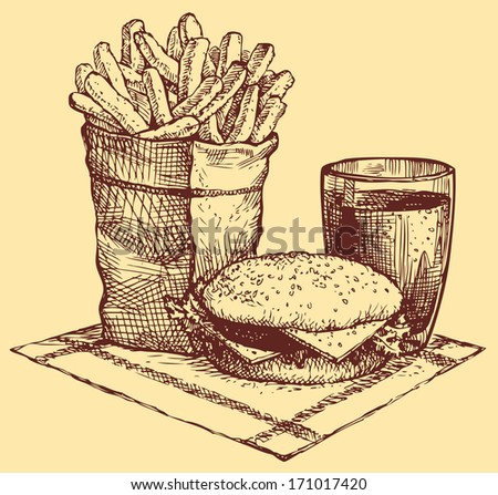 Vector still life of fast food. French fries in a paper bag, a burger and a Coke in a glass beaker - stock vector