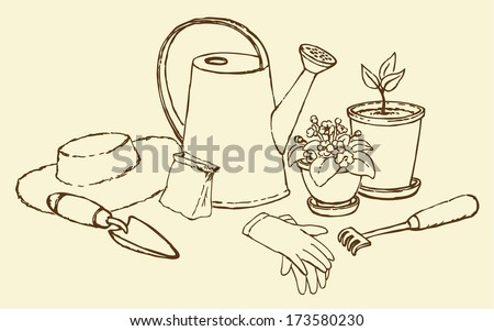 Vector still life of garden utensils. Watering can, horticultural gloves, shovel, rake, sun hat, a bag of seeds and pots with plants  - stock vector