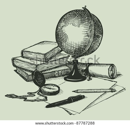 Vector still life subjects of geography: a globe, books, map and compass - stock vector