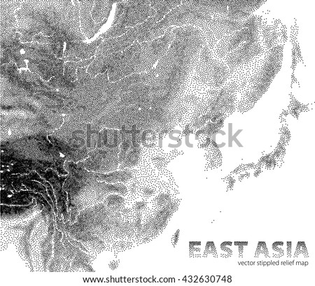 Vector stippled relief map of East Asia - stock vector