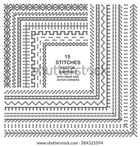 Vector stitch pattern brushes. Embroidery borders. Sewing elements isolated. Dividers and frames. Cross craft design.  - stock vector