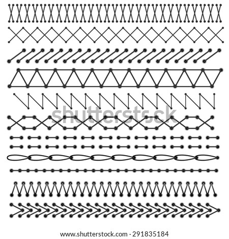 Vector stitches elements - stock vector