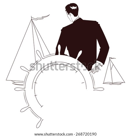 Vector stock illustration. Captain at helm of yacht looking at other sailboats - stock vector