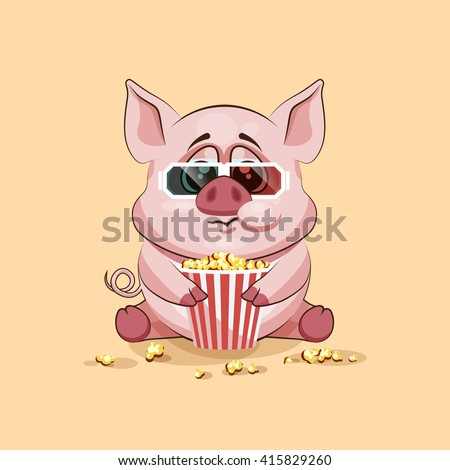 Vector Stock Illustration Emoji character cartoon Pig chewing popcorn, watching movie in 3D glasses sticker emoticon for site, infographic, video, animation, website, e-mail, newsletter, report, comic - stock vector