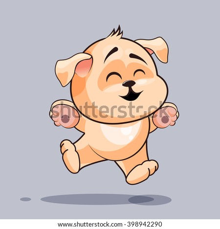 Vector Stock Illustration isolated Emoji character cartoon dog jumping for joy, happy sticker emoticon