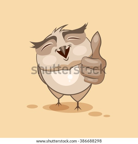 Vector Stock Illustration isolated Emoji character cartoon owl approves with thumb up sticker emoticon for site, infographics, video, animation, websites, e-mails, newsletters, reports, comics - stock vector