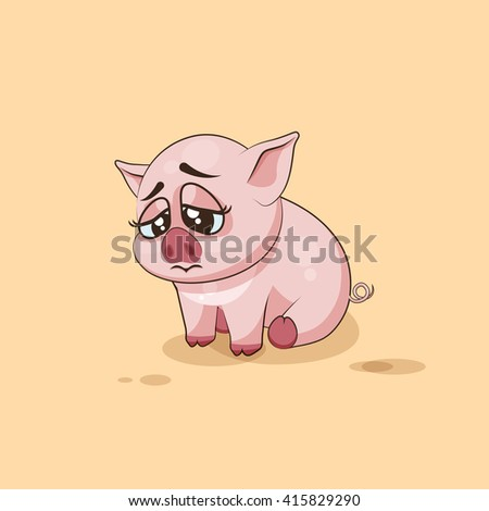 Vector Stock Illustration isolated Emoji character cartoon Pig sad and frustrated sticker emoticon for site, infographics, video, animation, websites, e-mails, newsletters, reports, comics - stock vector